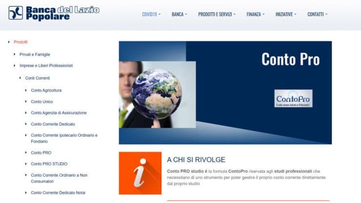 Conto Pro Studio Banca Popolare del Lazio